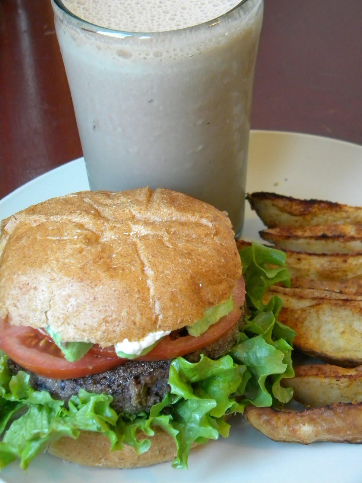 The Betty Crocker Project : California Black Bean Burgers, Oven-Fried Potato Wedges, and Chocolate Milkshake